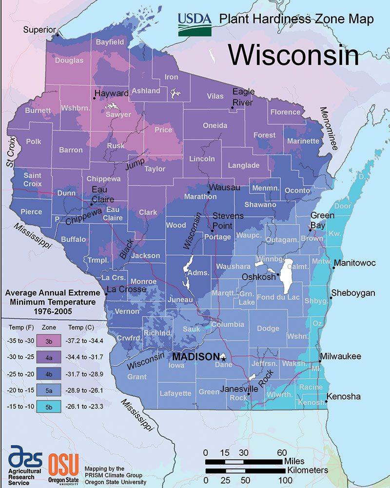 Wisconsin Plant Hardness Zone Map